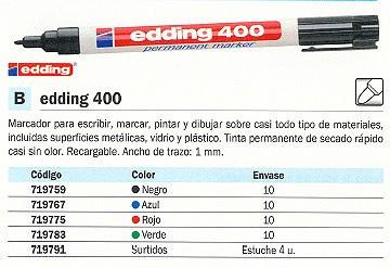EDDING 400 MARCADOR PERMANENTE BOLSILLO PUNTA REDONDA TRAZO 1 MM VERDE REF. 400-04