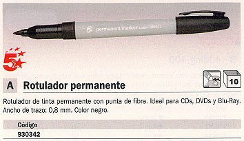 ENVASE DE 10 UNIDADES 5 STAR MARCADOR PERMANENTE DE PUNTA FINA 0.8 MM. NEGRO REF. 0050301
