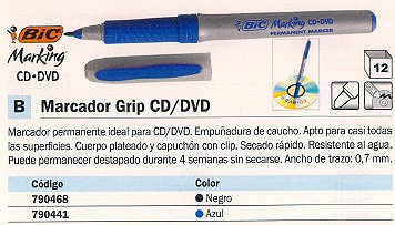BIC MARCADOR GRIP CD/DVD TRAZO 0.7MM SECADO RAPIDO 8290811