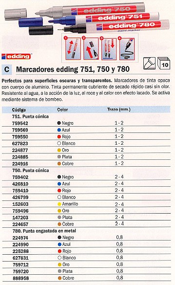 ENVASE DE 10 UNIDADES EDDING MARCADOR ESPECIAL 751 TRAZO 1-2MM PUNTA CONICA TINTA OPACA BLANCO SUPERFICIES OSCURAS 751-049
