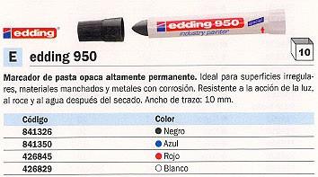 EDDING 950 PERMANENTE PASTA OPACA TRAZO 10 MM. NEGRO REF. 950-001