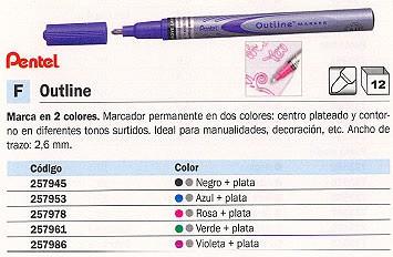 PENTEL MARCADOR PERMANENTE OUTLINE TRAZO 2.6 MM. PUNTA CONICA PLATA CON PERFIL ROSA REF. MSP60-ZP