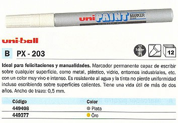 UNI BALL MARCADOR PERMANENTE PC 5M UNI POSCA PUNTA DE 1,8 2,5 MM. NO PERMANENTE PLATA 176453000
