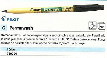 ENVASE DE 12 UNIDADES PILOT MARCADOR TEXTIL PERMAWASH PARA ROPA PUNTA DE FIBRA DE POLIÉSTER NEGRO SW-LMF-B