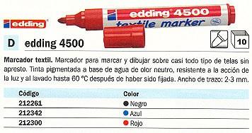 EDDING MARCADOR TEXTIL 4500 NEGRO PUNTA DE 2-3 MM. TINTA PIGMENTADA A BASE DE AGUA 4500-01
