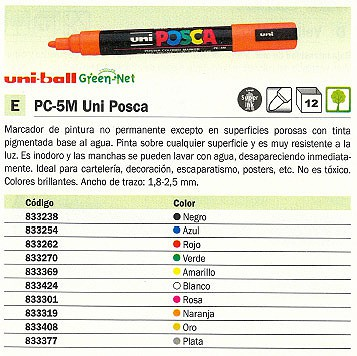 UNI BALL MARCADOR PERMANENTE PC 5M UNI POSCA TRAZO 1.8 2.5 MM PUNTA CÓNICA NO PERMANENTE 152702000