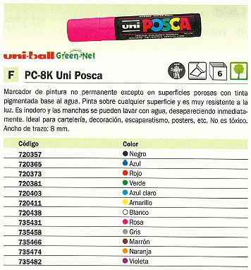 UNI BALL PC 8K UNI POSCA PUNTA BISELADA TINTA PIGMENTADA A BASE DE AGUA GRIS 148924000