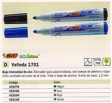 BIC PIZARRA BLANCA VELLEDA 1701 TRAZO 1.3 MM TINTA BASE ALCOHOL VERDE 1199170102