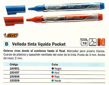 ENVASE DE 12 UNIDADES BIC MARCADOR PIZARRA VELLEDA POCKET TRAZO 2 MM PUNTA CONICA TINTA LIQUIDA AZUL 902087