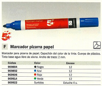 Marcadores pizarra papel ENVASE DE 12 UNIDADES 5 ESTRELLAS MARCADOR PIZARRA PAPEL TRAZO 2MM PUNTA CONICA ROJO 0058902