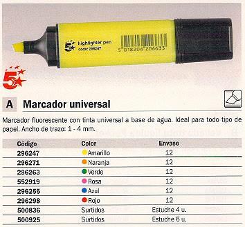 Marcadores fluorescentes ENVASE DE 12 UNIDADES 5 ESTRELLAS MARCADOR FLUORESCENTE TRAZO 1-4MM 296255
