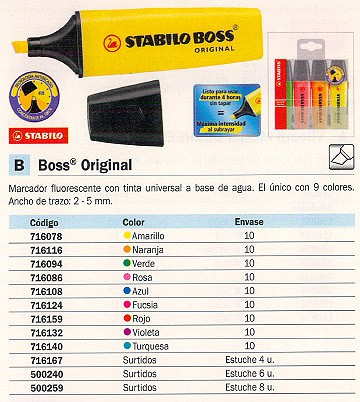 FLUORESCENTE BOSS ORIGINAL TRAZO 2-5 MM TINTA UNIVER