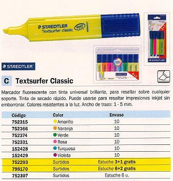 STAEDTLER MARCADOR FLUORESCENTE TEXTSURFER ESTUCHE 3+1UD TRAZO 1-5MM P.BISELADA COLOR SURTIDO 364ABK4D