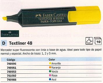 ENVASE DE 10 UNIDADES FABER CASTELL FLUORESCENTE TEXTLINER 48 PUNTA BISELADA TINTA BASE AGUA AMARILLO 154807