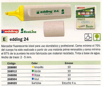 FLUORESCENTE RECARGABLE 24 TRAZO 2-5 MM PUNTA BISELAD