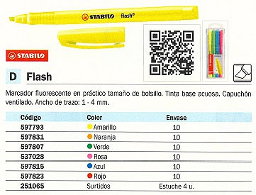 FLUORESCENTE FLASH TRAZO 1-4 MM TINTA BASE ACUOSA NA