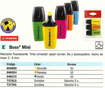 FLUORESCENTE BOSS MINI TRAZO 2-5 MM PUNTA BISELADA T
