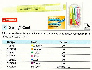 FLUORESCENTE SWING COOL TRAZO 1-4 MM TINTA BASE AL A