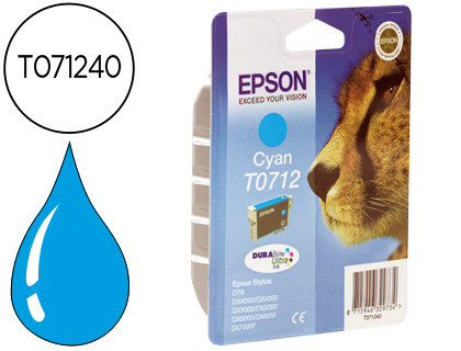 Epson Cartucho de tinta cían C13T07124012 T0712 345 Copias 5.5ml