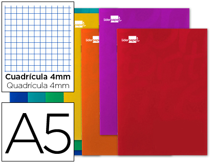 Libretas escolares ENVASE DE 5 UNIDADES LIBRETA LIDERPAPEL WRITE A5 80 HOJAS 60G/M2 CUADRO 4MM CON MARGEN