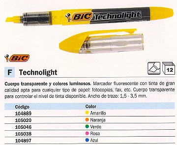 BIC MARCADOR FLUORESCENTE TECHNOLIGHT TRAZO 1.5-3.5 MM NIVEL DE TINTA VISIBLE NARANJA 802308