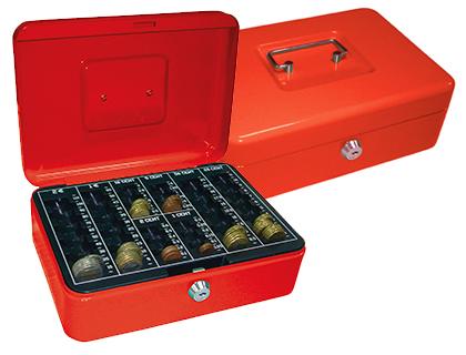 Cajas caudales CAJA CAUDALES Q-CONNECT 10 PULGADAS 250X180X90 MM ROJA CON PORTAMONEDAS