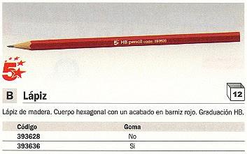 ENVASE DE 12 UNIDADES 5 STARS LÁPIZ DE MADERA HEXAGONALHB CON GOMA. ACABADO EN BARNIZ ROJO.
