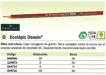 ENVASE DE 12 UNIDADES FABER CASTELL LAPIZ DESSIN ECOLOGICO 2B GRAFITO 112302