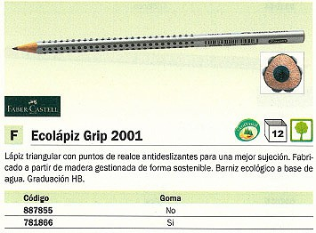 ENVASE DE 12 UNIDADES FABER CASTELL LÁPIZ GRIP 2001 ECOLOGICO HB GRAFITO ANTIDESLIZANTE CON GOMA TRIANGULAR 117200