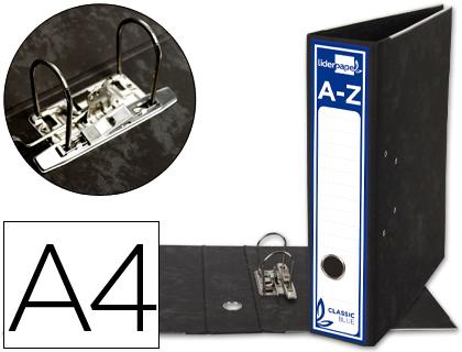 Din A4 ARCHIVADOR DE PALANCA LIDERPAPEL A4 CLASSIC BLUE CARTON ENTRECOLADO SIN RADO LOMO 80MM NEGRO COMPRESOR METALICO