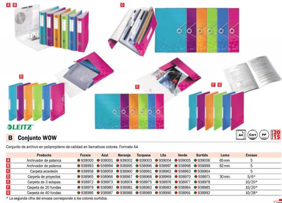 Carpetas de proyectos ENVASE DE 5 UNIDADES LEITZ CARPETAS PROYECTO WOW A4 LOMO 30 MM ROSA POLIPROPILENO 46290023