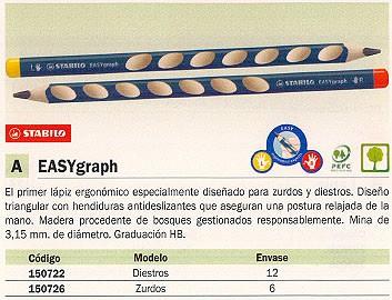 ENVASE DE 6 UNIDADES STABILO LÁPIZ EASYGRAPH ZURDOS DIAMETRO 3.15 MM HB CON HENDIDURAS TRIANGULAR 321-HB 6