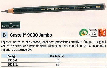 ENVASE DE 6 UNIDADES FABER CASTELL LÁPIZ 9000 JUMBO DIAMETRO 5.3 MM HB GRAFITO 119300