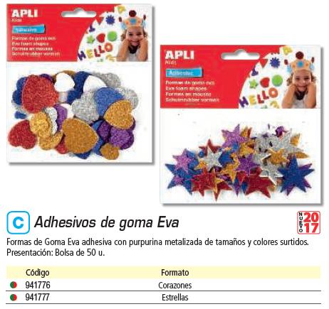 APLI BOLSA DE 50 FORMAS EVA ADHESIVAS DE CORAZONES EN PURPURINA 13484