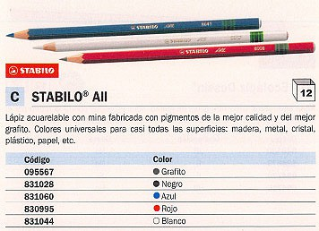 STABILO LAPIZ ALL ACUARELABLE NEGRO PARA CASI TODAS SUPERFICIES 8046