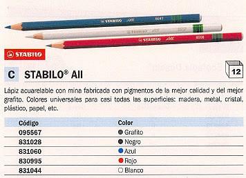 ENVASE DE 12 UNIDADES STABILO LÁPIZ ALL ACUARELABLE BLANCO PARA CASI TODAS SUPERFICIES 8052