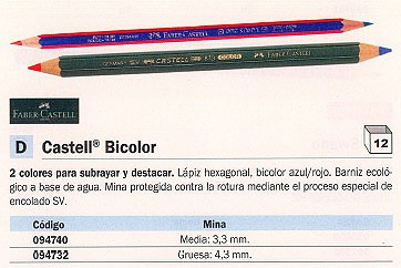 ENVASE DE 12 UNIDADES FABER CASTELL LÁPIZ CASTELL BICOLOR DIAMETRO GRUESO 4.3 MM BICOLOR AZUL Y ROJO HEXAGONAL 117500