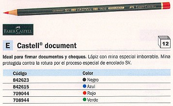 FABER CASTELL LÁPIZ DOCUMENT ECOLOGICO NEGRO MINA ESPECIAL IMBORRABLE 119112