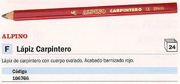 ENVASE DE 24 UNIDADES MASSAT LAPIZ CARPINTERO BARNIZADO EN ROJO OVALADO LE000013