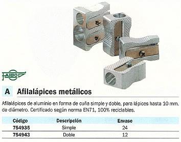 ENVASE DE 12 UNIDADESFAIBO AFILALÁPIZ CUÑA SIMPLE DOBLE HASTA 10 MM DIAMETRO ALUMINIO 2003