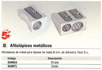 5 STAR AFILALÁPIZ PACK 5 UD SIMPLE HASTA 8 MM DIAMETRO METAL 0059700