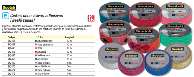 SCOTCH EXPOSITOR 18 CINTAS WASHI TAPE AMAPOLAS 15 MMX10M UU003015391