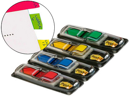 ENVASE DE 6 UNIDADES POST IT INDICES ADHESIVOS INDEX FLECHAS DISPENSADOR 20 UD 12X43,1 COLORES SURTIDOS 70071353604