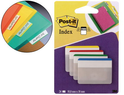 Separadores BANDERITAS SEPARADORAS RIGIDASDISPENSADOR 4 COLORES POST-IT INDEX 686-F-1 GRANDES 24 BANDERITAS
