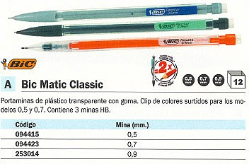 ENVASE DE 12 UNIDADES BIC PORTAMINAS MATIC CLASSIC DESECHABLE TRAZO 0.7 MM 3MINAS HB COLORES SURTIDOS TRANSPARENTES 820959
