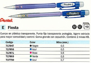 PENTEL PORTAMINAS FIESTA DESECHABLE TRAZO 0.5 MM AZUL PUNTA FIJA AX105-CO