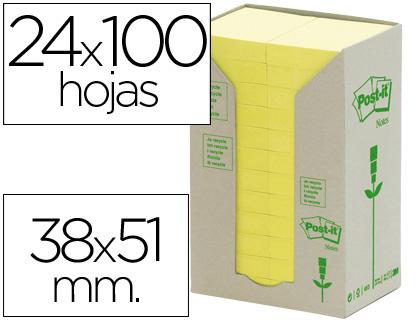 POST-IT TORRE NOTAS ADHESIVAS 24 BLOCS 100H AMARILLO 38X51MM RECICLADO FT510110388