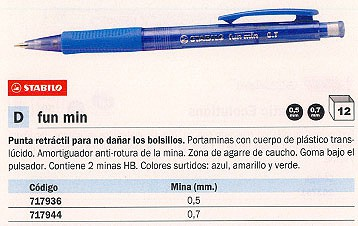 PORTAMINAS FUN MIN RETRACTIL TRAZO 0.7 MM 3837