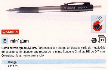 ENVASE DE 12 UNIDADES STABILO PORTAMINAS MIN GUM RECARGABLE TRAZO 0.7 MM CONTIENE 2 MINAS HB COLORES SURTIDOS 3127