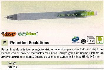 ENVASE DE 12 UNIDADESBIC PORTAMINAS REACTION ECOLUTIONS RECARGABLE TRAZO 0,5 MM 3 MINAS HB GRIS 8703631